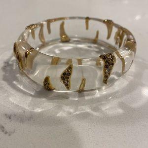 Alexis Bittar Clear Lucite Animal Stripe Bracelet